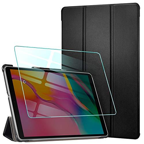AROYI Custodia Cover Compatibile con Samsung Galaxy Tab A 10.1 2019 con Vetro Temperato, Ultra Sottile Leggero Supporto Protettiva Tablet in Pelle PU Case, Nero