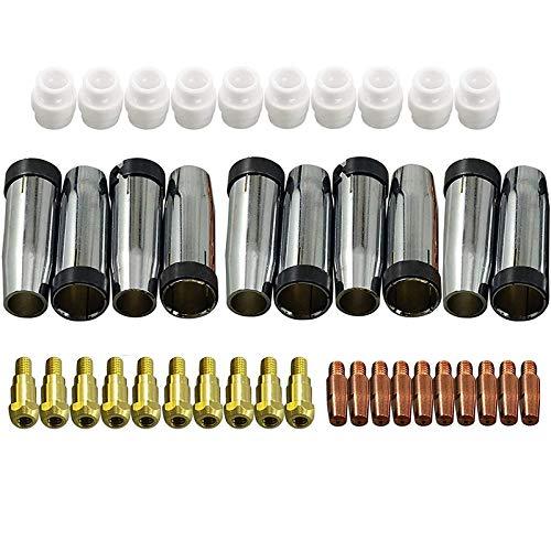 Popcornon Consumibles Punta + Electrodo + Copas de Protección Anillo de Gas Swir del Binzel Mig Mag Uso de la Antorcha de 24Kd para la Máquina de Soldadura Mig Mag