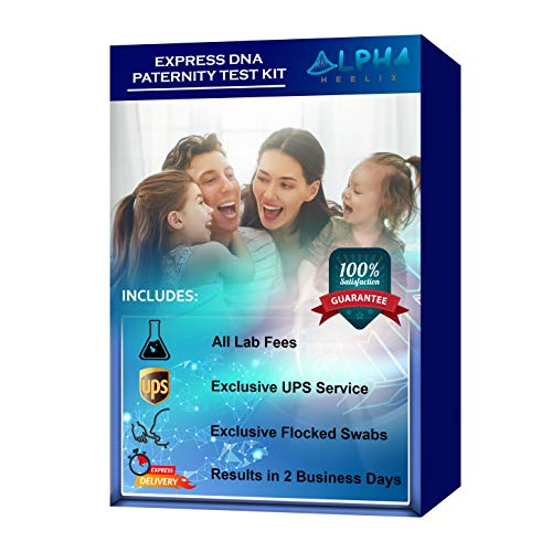Express DNA Paternity Test Kit (at Home) - Exclusive UPS Overnight Shipping to Lab for US Residents, Premium Flocked Swabs and All Lab Fees Included - Confidential Report in 2 Business Days