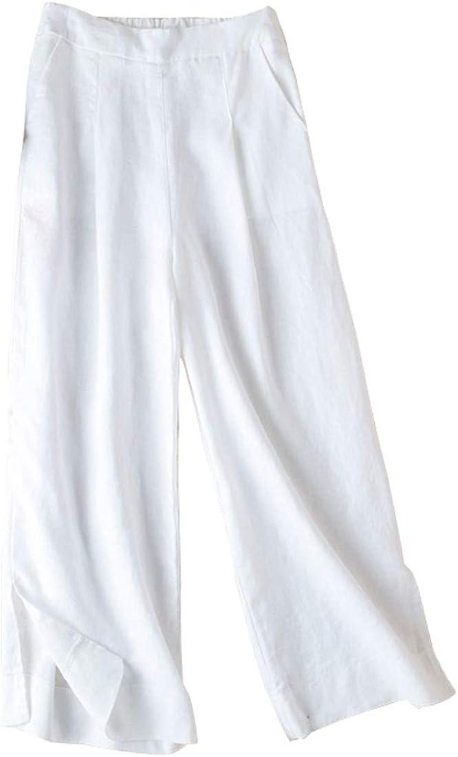 utcoco Womens Casual Loose Fit Linen Elastic Waist Wide Leg Pockets Beach Pants