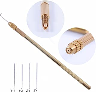 4 pcs Ventilating Needles +1 Brass Holder for lace wig needle
