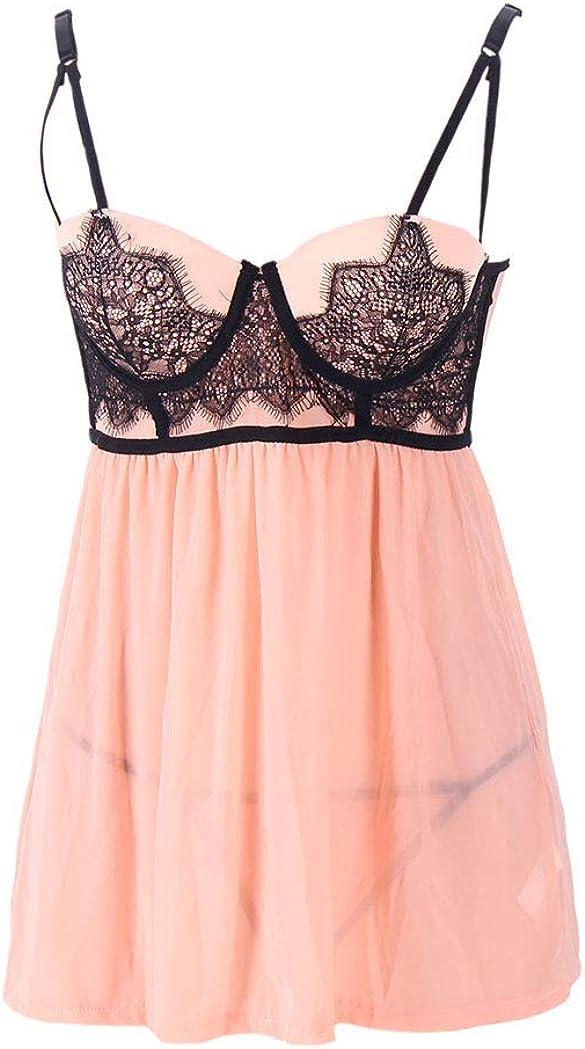 Zerolove Sexy Plus Size Babydoll Lingerie Set Deep V Lace Sleepwear G-String Nude