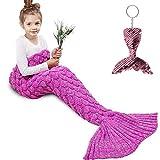 Amyhomie Mermaid Tail Blanket, Little Mermaid Blanket Soft Crochet All Seasons Sleeping Blanket for Kids, Mermaid Gift for Girls(ScaleRose,Kids)