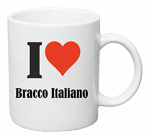 Reifen-Markt Kaffeetasse I Love Bracco Italiano Keramik Höhe 9,5cm ? 8cm in Weiß
