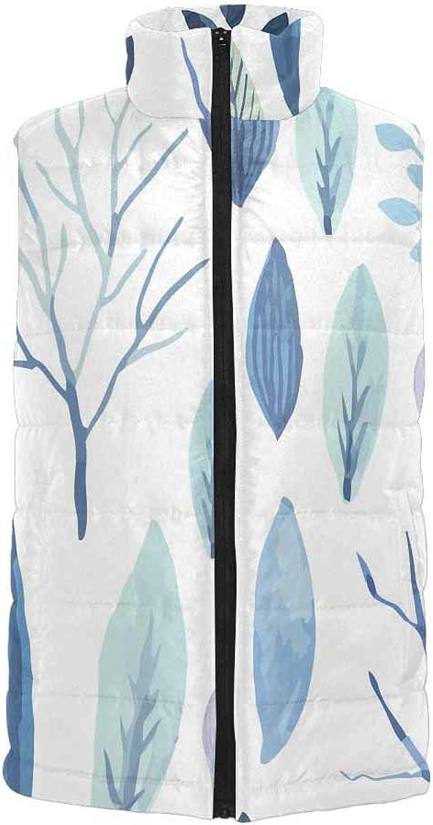 InterestPrint Warm Outdoor Sleeveless Stand Collar Vest for Men Cute Watercolor Flower L