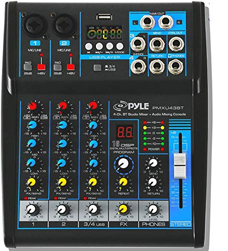 Pyle Professional Audio Mixer Sound Board Console System Interface 4 Channel Digital USB Bluetooth MP3 Computer Input 48V Phantom Power Stereo DJ Studio Streaming FX 16-Bit DSP processor-PMXU43BT