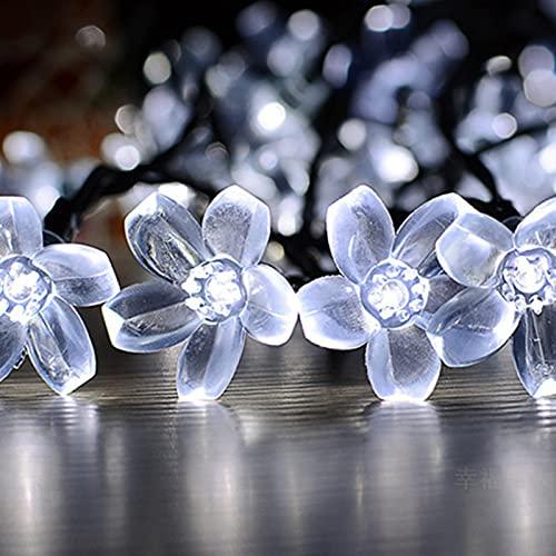Solar Lichterkette Blume Außen, XVZ-23ft 50 LED Solar Lichterkette Kirschblüten 8 Modi IP65 Wasserdicht Solarlichterkette für Outdoor, Garten, Patio, Hof, Pavillon, Weihnachtsbaum, Party(Kaltes Weiß)