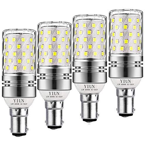 Yiun B15 LED Mais Lampen 12W, 100W Glühlampenäquivalent, 1200lm, Weiß 6000K LED Kronleuchterbirnen, dekorativer Kerzenständer B15, nicht dimmbare LED-Lampe, 4er Pack