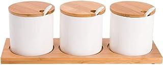 WZHZJ Pot en céramique Pot Condiments Stockage Assaisonnement Bambou Porte-épices Pot à Sucre Boîte sel Poivre Can Kitchen...