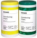 Amazon Brand - Solimo Disinfecting Wipes, Lemon Scent & Fresh Scent, Sanitizes/Cleans/Disinfects/Deodorizes, 75 Wipes Each (Pack of 2)