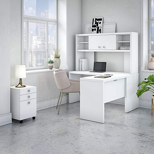 Office by Kathy Ireland Echo L Shaped Desk Office Suite in Pure White
