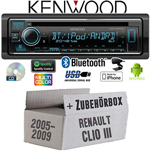 Renault Clio 3 - Autoradio Radio Kenwood KDC-BT530U - Bluetooth | Spotify | iPhone | Android | CD/MP3/USB - Einbauzubehör - Einbauset