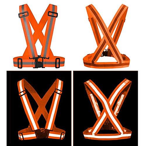Hamkaw Gilet Catarifrangente Arancione Bretelle di Sicurezza Regolabile con Strisce Riflettente Gilet Elastico ad Alta visibilità per Lavoro Moto Bici Corsa Jogging