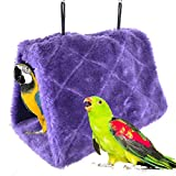 Winter Warm Bird Nest House Shed Hut Hanging Hammock Finch Cage Plush Fluffy Birds Hut Hideaway for Hamster Parrot Macaw Budgies Eclectus Parakeet Cockatiels Cockatoo Lovebird (S, Purple)
