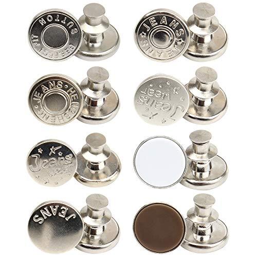CRE87 8PCS Jeans Knopf zum Einschlagen, Ersatz Jean Buttons, perfekte Passform Instant Button ohne Nähen für Jeans mit Nieten,Metall Hosenknopf, zur Reparatur von Jeans, Hose, DIY