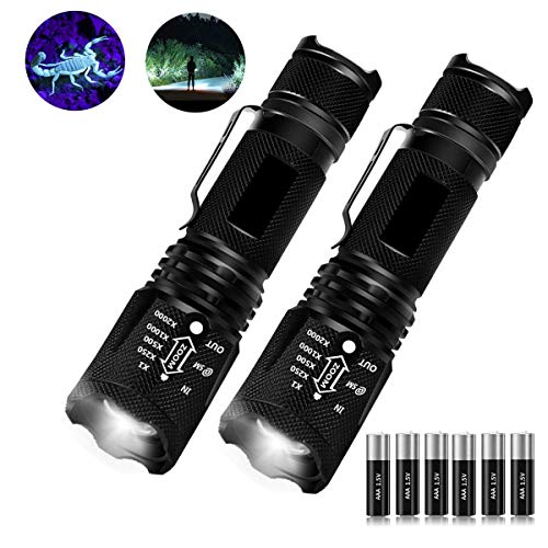 UV Flashlights with Batteries 2 Pack, 2 in 1 UV Light Blacklight Flashlight & White Light Tactical Flashlight Mini Ultraviolet Urine Detector for Cats, Pet Stains, Bed Bugs, Scorpions