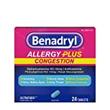 Benadryl Allergy Plus Congestion Ultratabs, Allergy & Congestion Relief Medicine, 24 ct