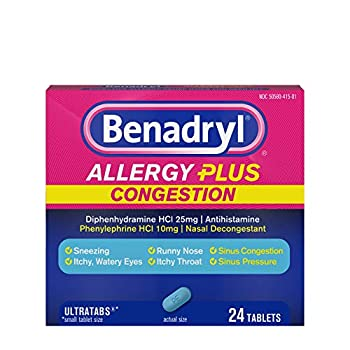Benadryl Allergy Plus Congestion Ultratabs Allergy & Congestion Relief Medicine 24 ct