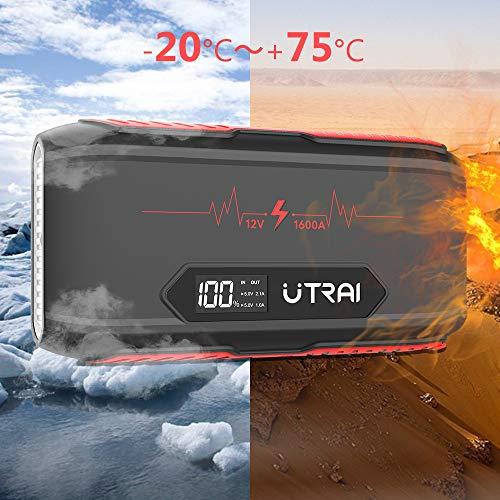 UTRAI Jstar 3 Avviatore di Emergenza Auto 12V 1600A 20000mah Jump Starter Portatile Moto (7L Benzina/6L Diesel) Booster Batteria Impermeabile, Grande Torcia a LED, Pinza Intelligente con Display LCD