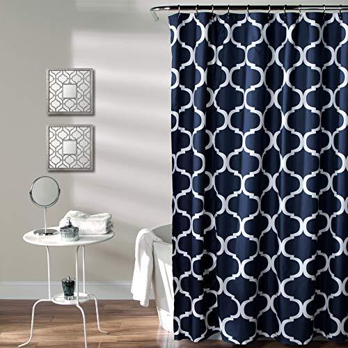Lush Decor Navy Bathroom Shower Curtain with Bold Trellis Print on Soft Fabric, Washable and Durable, 72' x 72'