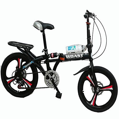 TATANE 16 Pollici Folding Mountain Bike M Variable Speed Bike, Sospensione Freno A Disco Student Moto Che può Prendere La Gente Biciclette,Nero,16