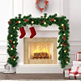amzdeal 8.8 Ft Artificial Christmas Garland with 100 Battery Operated Lights, 216 Branches, Pine Cone and Berrie, 8 Modes Christmas New Year Decor for Indoor Outdoor Fireplace, Ship After Order