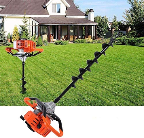 Gas Powered Post Hole Digger,72CC 4HP Stroke Gas Post Hole Digger Earth Auger Petrol Powered Ground Drill with 3 Bits(4'&8'&12') and 3 Extension Rods(1')