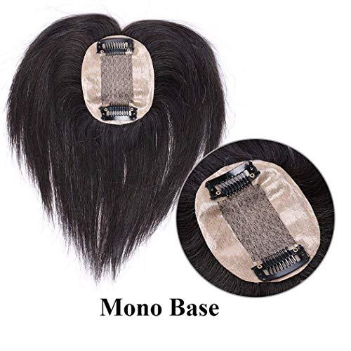 WANGCY Double Pince à Cheveux Humains en PU véritable pour Femmes, adaptée aux Cheveux clairsemés 6\