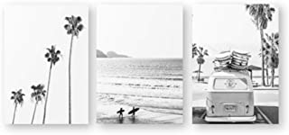 XIXISA Beach Tropical Landscape Posters Prints Palm Beach Surf Wall Art Canvas Painting Black and White Photography Pictures Home Decor 50x70cm No Frame