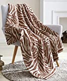Snuggle Sac Textured Knitted Ultra Soft Throw Blanket, Zebra Stripes Pattern Air Feel Cozy Warm Throw Blanket for Bed/Sofa/Couch in All Seasons (Red Beaver, 50' x 60')