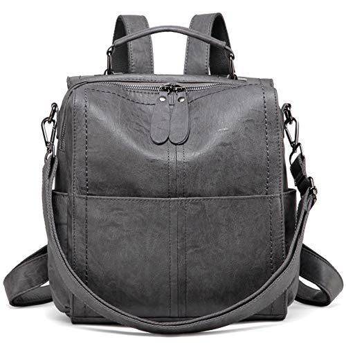 VASCHY Rucksack Damen, Elegant Kunstleder Quadratischer Kleiner Mini Rucksack Casual Daypack Handtasche Schultertasche für Frauen Hochschule Mädchen(Grau)