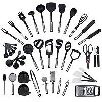kronenkraft, set di 42 utensili da cucina in acciaio inox e nylon, strumenti per cucinare, compresi spatole, pinze, cucchiaio, misurino, frusta, apriscatole, pelapatate, raschietto