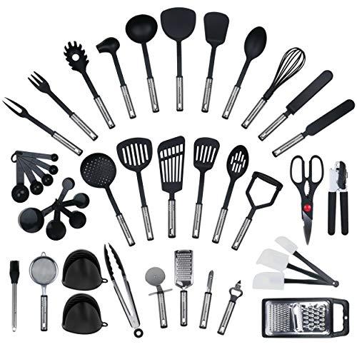 Ensemble de 42 pièces par KRONENKRAFT - set de cuisine en acier inoxydable et nylon, ensemble de gadgets de cuisine, set de cuisine, batterie de cuisine, ustensiles de cuisine, équipement d'origine,