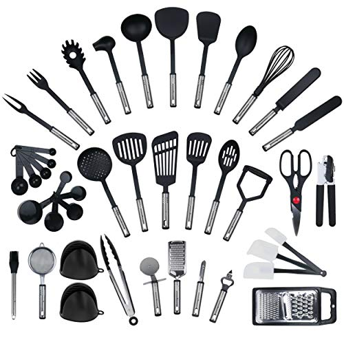 NUEVO – 42 piezas de Juego de coronas Fuerza, utensilios de cocina de acero inoxidable y nailon Cocinar Tools incluyendo Turners, Tongs, cuchara, vaso medidor, batidor, abrelatas, pelador, rasqueta