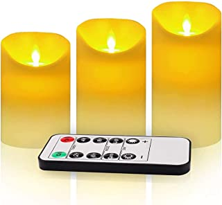 """3 Pack Flickering Flameless Candles with Remote Control, 4"""" 5"""" 6"""" Battery Operated LED Pillar Candle Set, 2/4/6/8 Hours Ti..."""