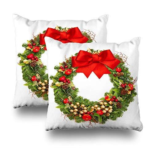 GFGKKGJFD Juego de 2 fundas de cojín de Navidad con cinta roja y corona de Navidad de color blanco dorado, 18 x 18 cm, para sofá, adolescentes, niñas, regalos