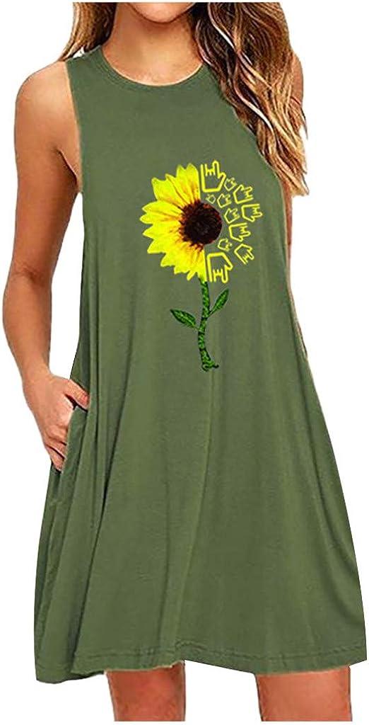 Kinsaiy Dresses for Women Casual Summer, Plus Size Loose Sunflower Print Tank Dress Sleeveless Nightdress with Pocket