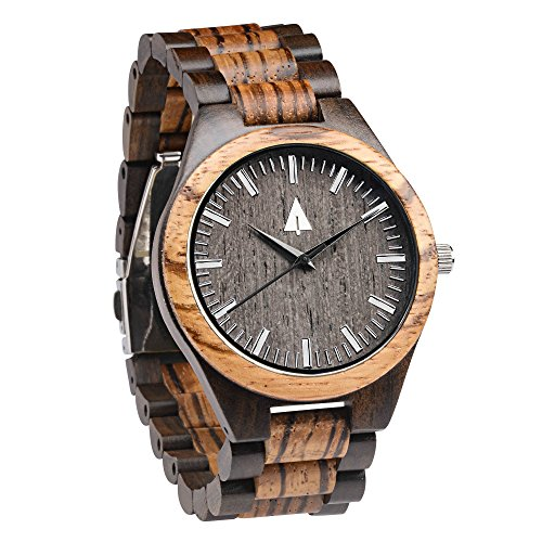 Treehut Zebrawood and Ebony Wooden Men's Watch – Tri-Fold Clasp – Stainless S.