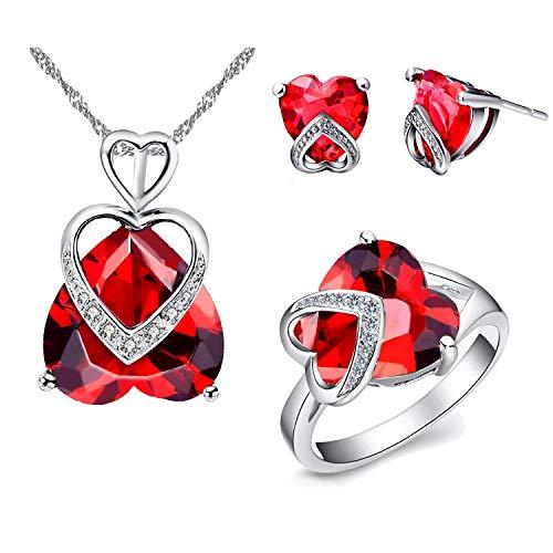 Gran rojo púrpura corazón colgante collar AAA Cubic Zirconia Stud Pendientes de gota y solitario anillo de cristal boda compromiso joyería conjunto para mujeres niñas regalo T086