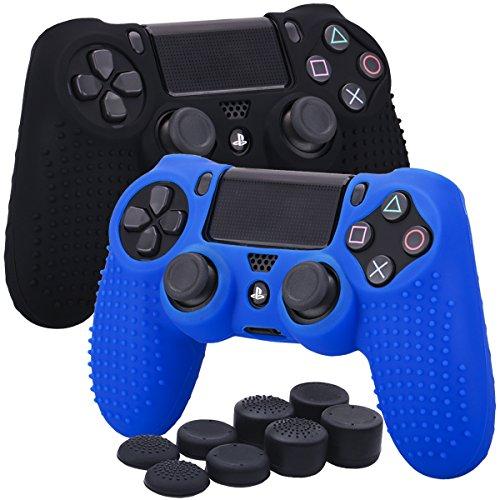YoRHa Borchie Cassa pelle copertura silicone skin cover Custodia per Sony PS4/Slim/Pro Controller x 2 (nero + blu) Con PRO presa del pollice thumb grips x 8