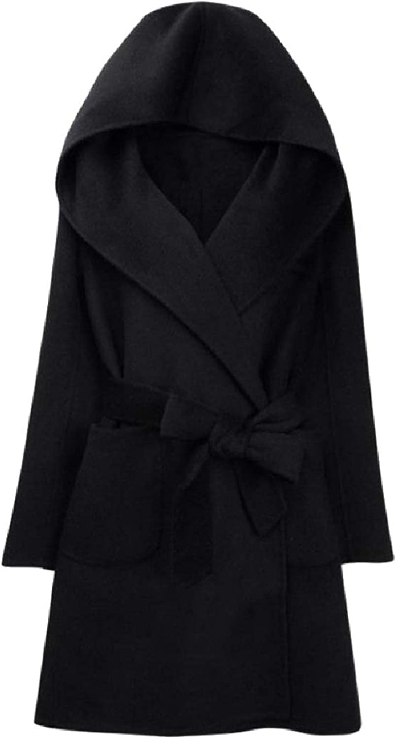Baseby Women's Classic Belted Hood Fall Winter MidLong Worsted Coat