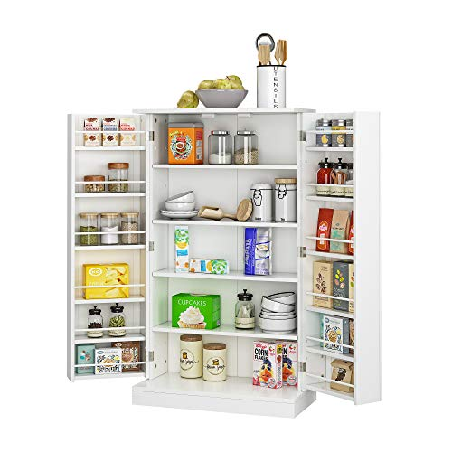 JEROAL Wooden Pantry Cabinet, Kitchen Storage Pantry Cabinet Organizer, Dining Room Entryway Floor Cabinet with Doors and Shelves, White