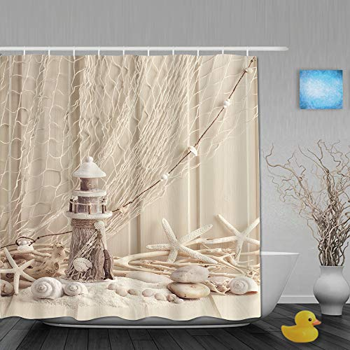 Marutuki Duschvorhang,Fischernetz Marine Thema Seesterne & Muscheln Unterwasser Leben Holz Leuchtturm,personalisierte Deko Badezimmer Vorhang,mit Haken,180 * 210