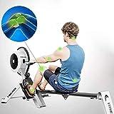 FYYDNR Rudergerät, Doppelfunktion Multi-Exercise Fußplatten und Portabilität Räder 7 Funktion LCD-Monitor-Anzeige 165 * 85 * 50cm - 4
