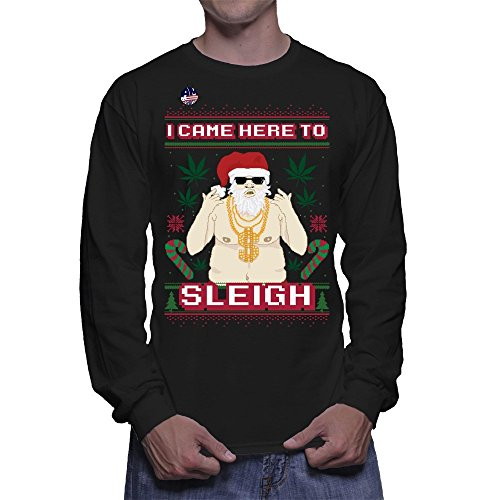 I Came Here To Sleigh Weed Ugly Christmas Sweater Longsleeve T-Shirt L Black Men's Longsleeve