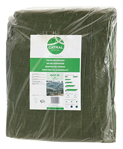 Toldo reforzado gramaje 120 grs, 6 x 10 m, color verde - Catral 560106