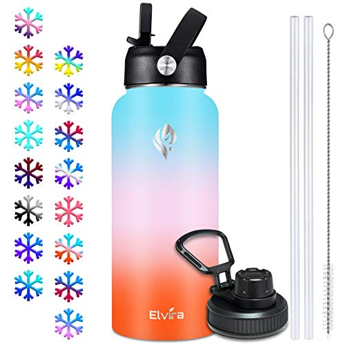 Elvira 32oz Vacuum Insulated Stainless Steel Water Bottle with Straw & Spout Lids, Double Wall Sweat-Proof BPA Free to Keep Beverages Cold for 24Hrs or Hot for 12Hrs-Green/Pink/Orange Gradient