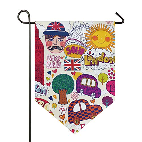 AMONKA England London Symbole, Gartenflagge, doppelseitig, Polyester, Hofflagge für Haus, Außendekoration, 30,5 x 45,7 cm, Polyester, Multi, 12x18.5 Inch