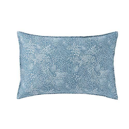 Essix Millefeuilles Taie d'oreiller, Satin de Coton, Bleu Émeraude, 50 x 75 cm