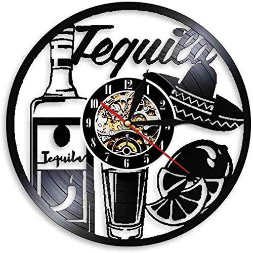 ZZLLL Vinilo Reloj de Pared Registro Botella de Bebida Tequila Tiempo Arte Bebida Bar Pub Signo Vino número de Regalo